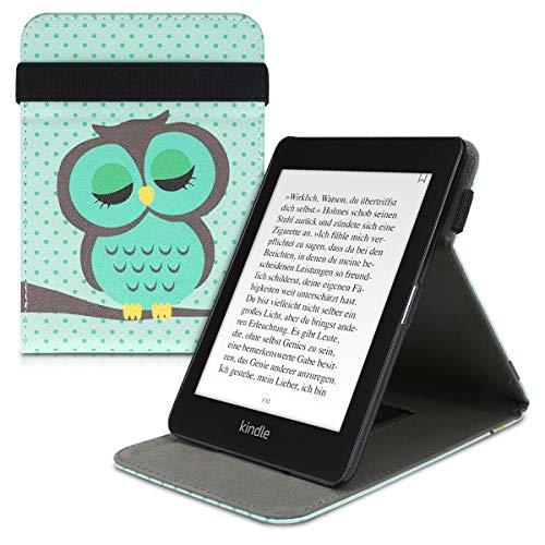 kwmobile Schutzhülle kompatibel mit Amazon Kindle Paperwhite (10. Gen - 2018) - Hülle e-Reader mit Schlaufe Ständer - - Eule Schlaf Türkis Braun Mintgrün