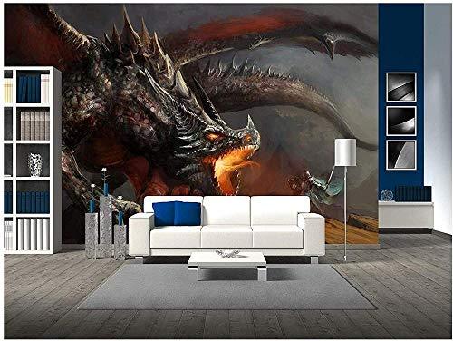 Tapete 3D Wandsticker Für Das Kinderzimmer 200 * 150Cm Fantasy-Szene Knight Fighting Dragon Fototapete 3D Selbstklebend Diy Wandbild Dekoration Wandtapete Fotoposter Wanddekoration