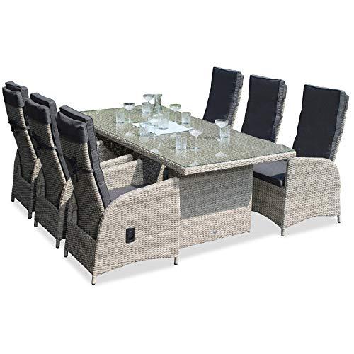 Green Spirit - Garten-Sitzgruppe/Rattan-Garnitur \'Marbella\' - Hellgrau, Poly-Rattan, Sicherheitsglas, Wetterfest, 6 stufenlos verstellbare Garten-Sessel - Garten-Möbel Set/Terrassen-Möbel