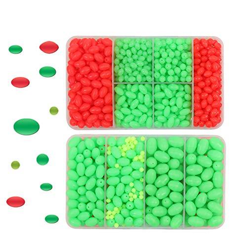 Croch 1000 Stück Leuchtende Angelköder Perlen Angeln Eier 8 Verschiedene Größe, Leuchtenperlen(nur Grün)