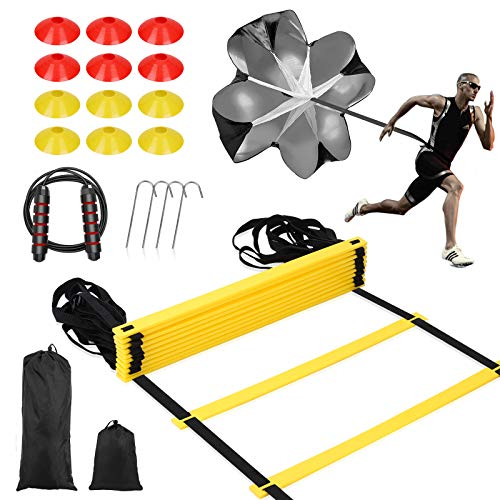 SKL Speed Agility Training Set, Includes Speed Running Parachute, Adjustable Rungs Agility Ladder, 12 Disc Cones, Jump Rope with Carrying Bag for Football Soccer Lacrosse Hockey Basketball Drill