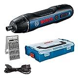 Bosch Professional Atornillador a Batería Bosch GO, Incluye Juego de 25 puntas, Cable de Carga USB, L-BOXX Mini, Amazon Exclusive