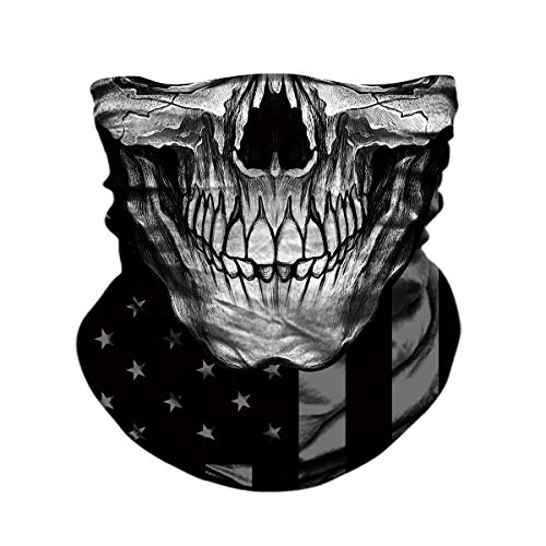TERNNK Skull Face Mask Half Sun Dust Wind Protection, 3D Tube Mask Seamless Durable Face Mask Bandana Skeleton Face Mask Motorcycle Bike Riding Fishing Hunting Cycling Festival, Many Patterns (F9)