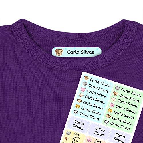 Etiquetas termoadhesivas personalizadas con tu texto | Etiquetas para la ropa, con dibujos de animales y texto personalizado. 40 U. en hoja laminada FUNNY ANIMALS