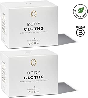 Cora pH Balanced Bamboo Feminine Wipes with Plant-Based Moisturizers and Essential Oils (36 Count Total) (Packaging May Vary)