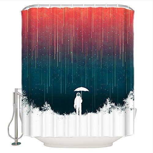 WUXEGHK Cortina Ducha,Lluvia Meteorológica Cortinas De Baño De Tela Extra Largas Conjuntos De Decoración De Baño con Ganchos 220X220Cm