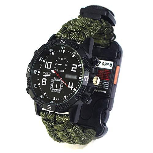 OUYA Reloj Deportivo para Hombre + Caja de Reloj, Reloj de Supervivencia al Aire Libre 7 en 1, Reloj Multifuncional de Cuerda de Paraguas de Supervivencia al Aire Libre de 2,2 m,C