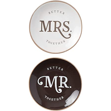 Mr /& Mrs White Porcelain Triple Tray Jewelry Organizer Ring Dish