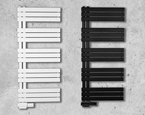 Design Badheizkörper Paneel mit Anschluss links oder rechts | Heizkörper mit versetztem Mittelanschluss (60 x 1640 cm, weiß (RAL 9016))