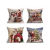 Holeider Kissenbezüge Weihnachten, 4er Set Baumwolle Leinen Drucken Kissen Kissenbezüge Dekorative Kissenhülle Für Sofa Büro,45 x 45cm (H)