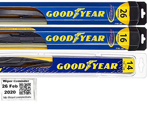 Windshield Wiper Blade Set/Kit/Bundle for 2007-2018 Acura RDX - Driver, Passenger Blade & Rear Blade & Reminder Sticker (Hybrid with Goodyear Rear)