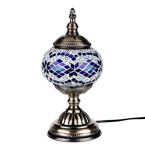 Lámpara Escritorio Turca de Mesilla de Noche Vintage para Dormitorio Mosaico cristal, Base Bronze (Blu)
