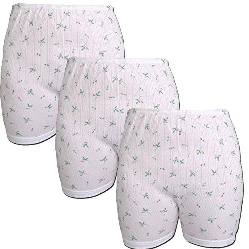 FTSD - FindTheSecretDreams 3er Pack Damen Slip mit Bein, weiß mit Blumen Muster (Schlüpfer, Unterhose) (176 HOA) (Weiß / 48/50)