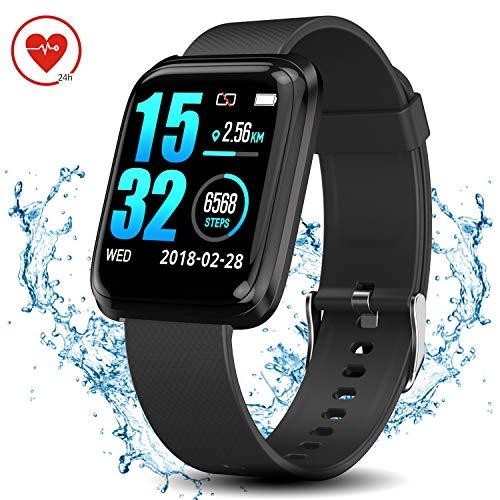 WearNow Fitness Tracker Watch, IP68 Waterproof Activity Tracker with Pedometer Sleep Tracker Heart Rate Monitor Brightness Adjustment, 1.3 Inches Smart Running GPS Watch for Men Women Kids (Black)