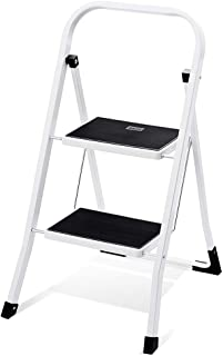 Delxo 2 Step Ladder Folding Step Stool Ladder with Handgrip Anti-Slip Sturdy and Wide..