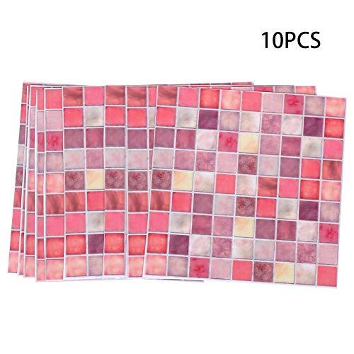 15 x 15 cm, oranje, voor het verwijderen en plakken van tegels, zelfklevend, waterdicht, antislip, voor keuken, badkamer, 10 stuks