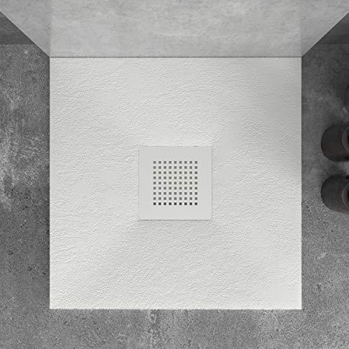 Plato de Ducha de Resina Mineral - Forma Cuadrada - Textura Pizarra,Antideslizante y Antibacteriano - Acabado Mate - Incluye Sifón y Rejilla de 23,5cm (70x70, Blanco)