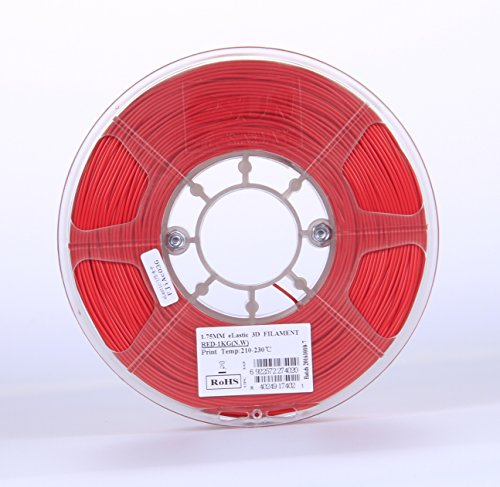 eSUN 1.75mm Elastic TPE 3D Printer Filament 1KG Spool (2.2lbs), Red