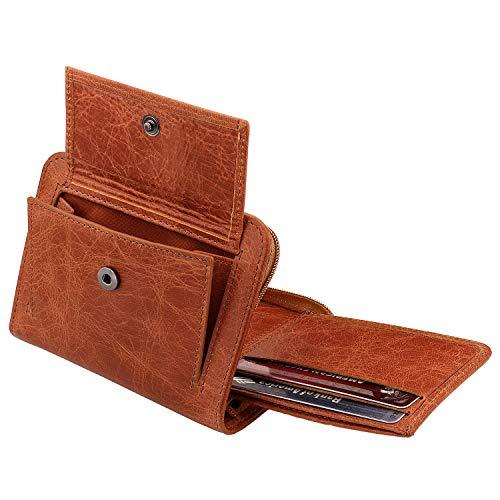 Otto Angelino RFID-bescherming Bifold Dubbele Rits Portemonnee -Italienisches Koeienhuid - Reiscomfort Slim - Credit Kaarthouder met Transparante ID Slot - Snap Back Munthouder