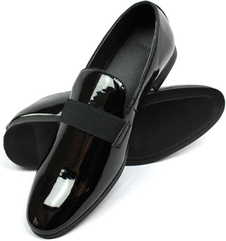 New Men's Black Patent Leather Tuxedo Slip on Dress shoes by Azar