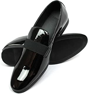 New Men's Black Patent Leather Tuxedo Slip on Dress Shoes by Azar