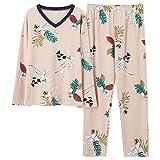 Pijamas Talla Grande 5XL Sleep Lounge Top de Manga Larga + Pantalones Largos Conjunto de Pijamas de Mujer Pijamas con Estampado de Dibujos Animados Ropa de Dormir de algodón para Mujeres
