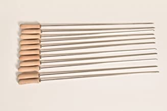 Food From Cyprus Set of 11 Stainless Steel Greek Cypriot Barbecue BBQ Grill Foukou Souvlaki Kebab Skewers with Wooden Handles