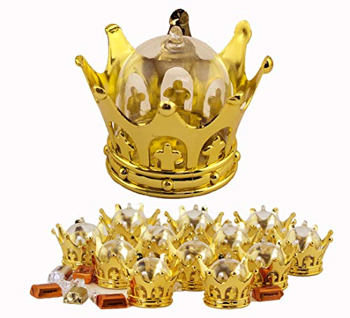 JC HUMMINGBIRD Fillable Gold Crown with Dome Party Favors, 12 Pieces