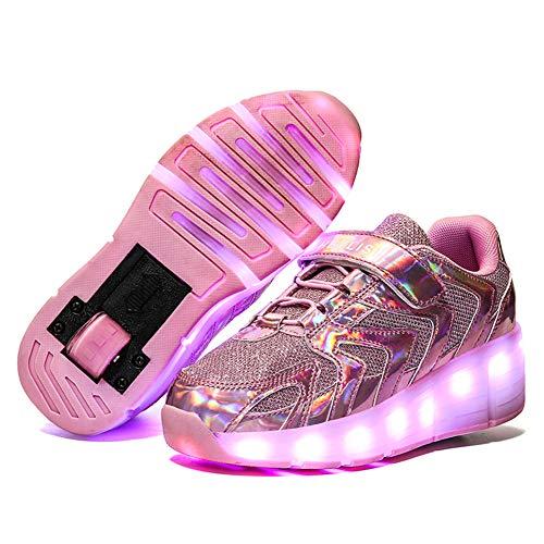 MNVOA Unisex Kinder Mode LED USB Schuhe mit Rollen Drucktaste Einstellbare Skateboardschuhe Outdoor Gymnastik Turnschuhe Für Junge Mädchen Jungs,Pink 1 Wheel,36 EU