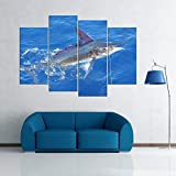 KOPASD 4 Cuadros en Lienzo Captura de Marlin Impresión HD, Diseño de la Naturaleza, con Marco Creativo