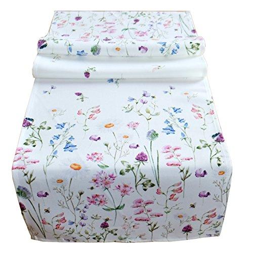 heimtexland ® Tisch Dekoration Serie Blumen Weiß Bunt Tischdecke Tischläufer 40x140 Blumenwiese Mehrfarbig Typ520
