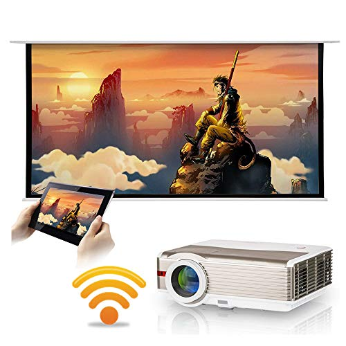 Android Wifi Smart Projector Wxga LCD LED 5000 Lumens Wireless HD HDMI Multimedia Home Wifi Projector Ceiling Zoom Built-in Speakers Support 1080P for Movie Theater TV Gaming Outdoor Use Basement