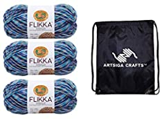 BUNDLE: Lion Brand Yarn Flikka Knitting Yarn Wading Pool 3-Skein Factory Pack (Same Dye Lot) 431-709 Bundle with 1 Artsiga Crafts Project Bag DESCRIPTION: Lion Brand Flikka is trans seasonal and trendy and made from 50% cotton, 50% polyester yarn wit...