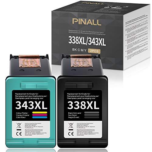 PINALL Cartuchos de tinta compatibles HP 338 343 XL para HP Photosmart C3180 2710 7850 8150 PSC 1610 2355 OfficeJet 100 150 6210 7310 H470 K7100 DeskJet 460c 5740(1 (1 (1 negro 1 color).