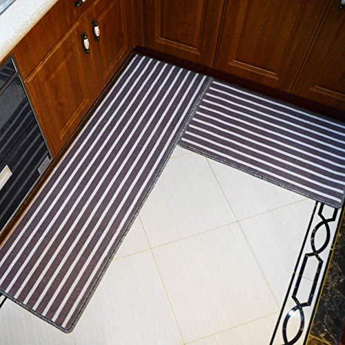 IUYJVR Alfombrillas de Cocina a Rayas, alfombras de Cocina largas e Impermeables a Prueba de Aceite Alfombras de Microfibra para el Piso Alfombras Antideslizantes de baño con Respaldo de goma-50x80