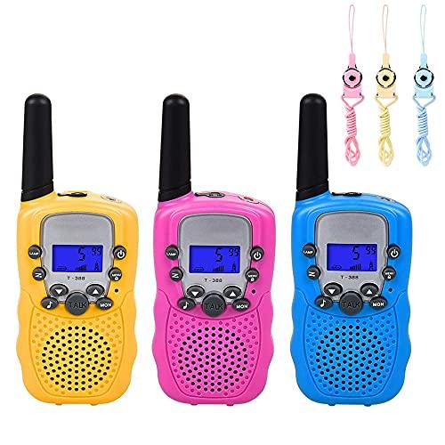 IWILCS 3Pcs Walkie Talkies, Walkie Talkie para Niños 8 Canales LCD Pantalla VOX Larga Distancia 3KM,Regalos para Niños o Niñas de 3 a12 Años