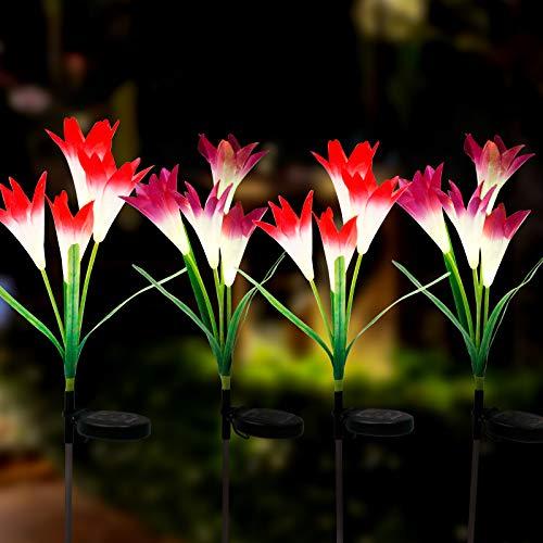 Hatstart Outdoor Solar Garden Lights,4 Pack Multi-Colors Changing Lily Flower Lights Waterproof LED Solar Powered Lights with 16 Lily Flower for Garden, Patio, Pathway