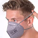 Aidway N95 Respirator - Made in USA - Protection from Dust & Airborne Contaminants - Disposable - 10 Count - Grey