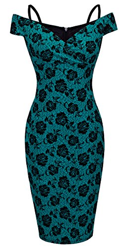 HOMEYEE Women's Vintage Elegant Printed Floral V-Neck Sling Dress B309 (M, Green)