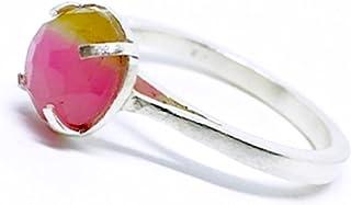Prezioso anello con preziosa Tormalina Bicolore taglio rosa dal diametro di 7 mm. Anello realizzato interamente a mano in ...