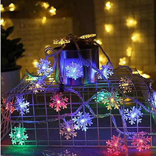 Luces De Cadena Decoración De Navidad Copo De Nieve 20 Led Hada Colgante Impermeable para El Hogar Al Aire Libre Colorido 300 Cm