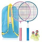 TK Gruppe Timo Klingler Set di racchette da badminton per bambini con volani 3X Palline da badminton per allenamento e competizione