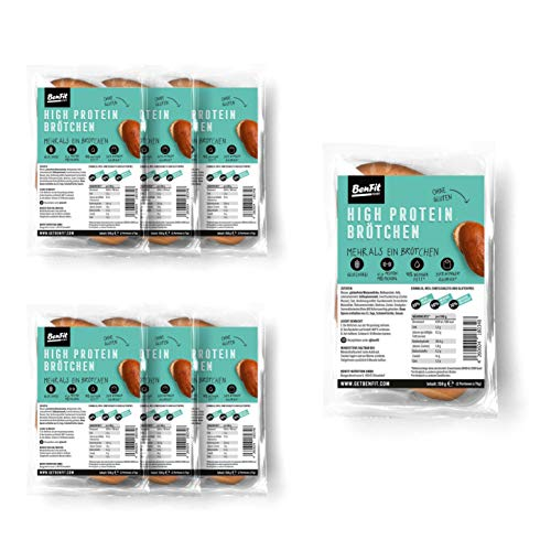 BenFit High Protein-Brötchen - 7 x 150 g - glutenfreies Eiweißbrot - ideal für eine eiweißreiche, fettarme, kalorienreduzierte und zugleich glutenfreie Ernährung