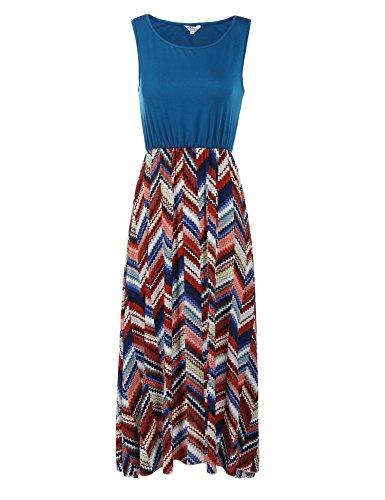Parabler Damen Standkleid Maxikleid Midikleid Sommerkleid Freizeit Kleider mit Lang Rock (D)drucken EU 38(Herstellergröße: M)