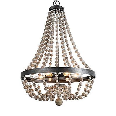 LALUZ Aged Wood Beaded Chandeliers Black Basket Candle Bedroom Lighting