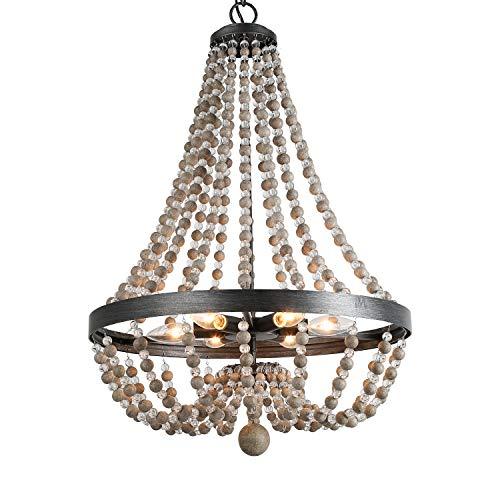 LALUZ Farmhouse Chandelier, Boho Light Fixture for Dining Room, Bedroom, Handmade Wood Beads, 6-Light, 28.3″H x 20.1″W