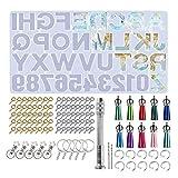 ZJL220 1 juego de moldes de resina epoxi con forma de letras del alfabeto y número de colgante de silicona, para manualidades y fabricación de joyas