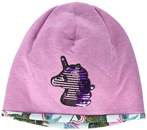 maximo Mädchen aus Jersey mit Wendepailletten Einhorn Mütze, Rosa (Pinkmeliert 85), (Herstellergröße: 51)