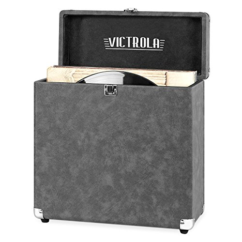 Victrola Vintage Vinyl Record Storage and Carrying Case, Fits all Standard Records - 33 1/3, 45 and 78 RPM, Holds 30 Albums, Perfect for your Treasured Record Collection, Gray, 1SFA (VSC-20-GRY)