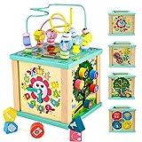 yoptote Juguetes Montessori Mesa Actividade Madera Cubo de Actividades Infantil Abaco Infantil Torre de Aprendizaje Juegos Educativos de Ciencias Bebés Niños 3 4 5 Niñas